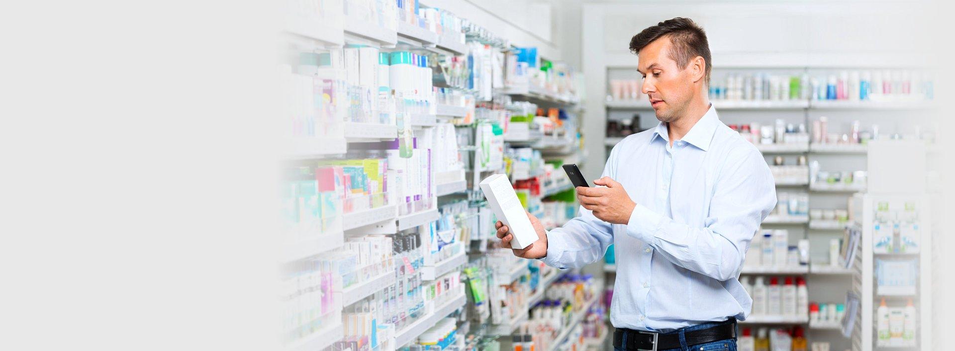 customer holding a medicine